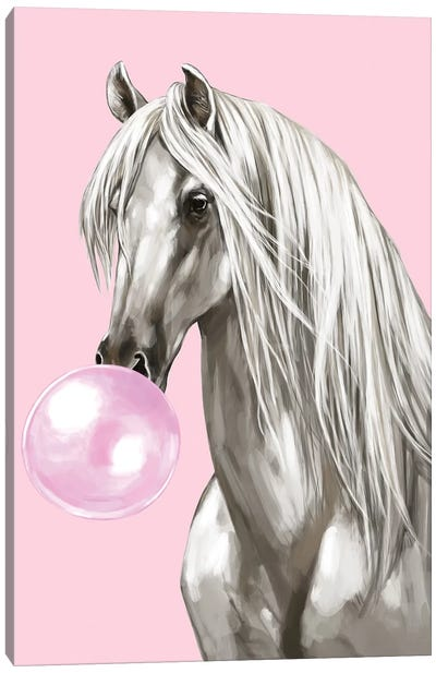 White Horse With Bubbble Gum In Pink Canvas Art Print