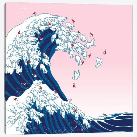 Christmas Llama Great Waves In Pink Canvas Print #BNW131} by Big Nose Work Canvas Print