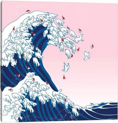 Christmas Llama Great Waves In Pink Canvas Art Print