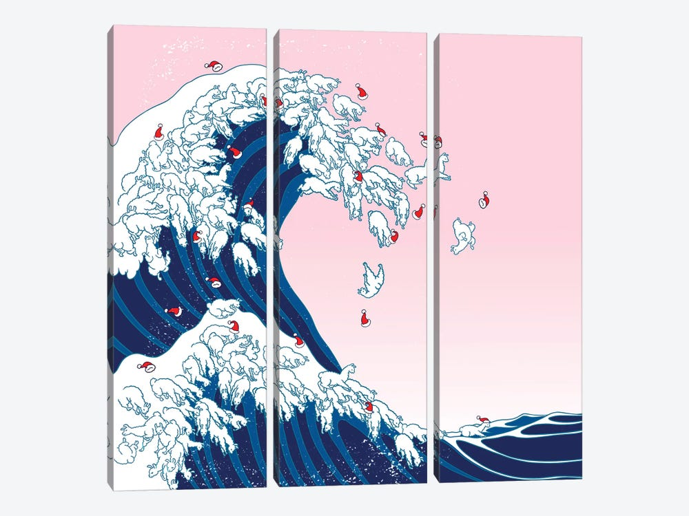 Christmas Llama Great Waves In Pink by Big Nose Work 3-piece Art Print