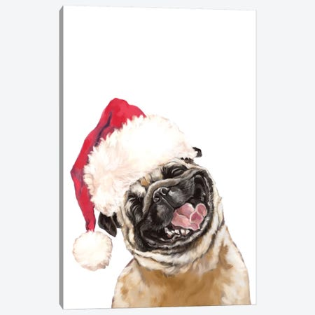 Christmas Laughing Pug Canvas Print #BNW132} by Big Nose Work Art Print
