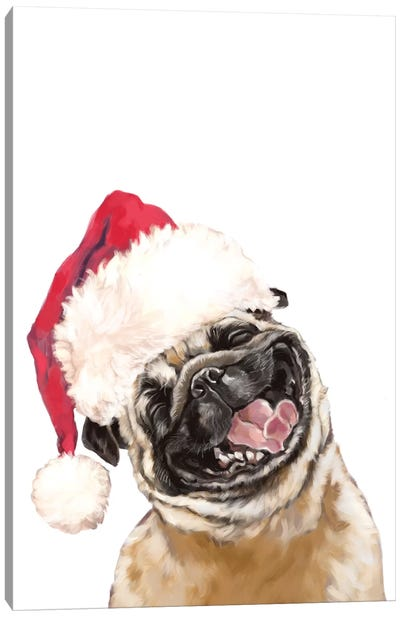 Christmas Laughing Pug Canvas Art Print
