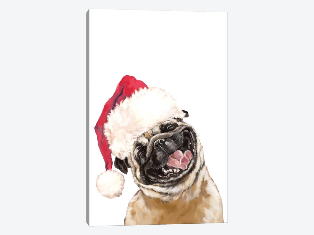 Christmas Laughing Pug by Big Nose Work 1-piece Canvas Art