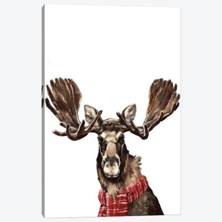 Christmas Moose Canvas Print #BNW133} by Big Nose Work Art Print