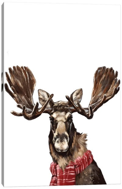Christmas Moose Canvas Art Print