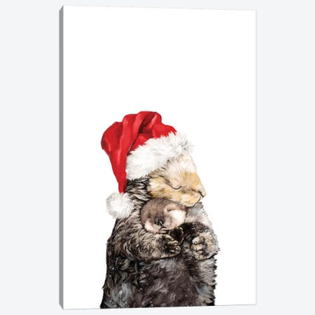Christmas Otter Mother And Child Canvas Print #BNW134} by Big Nose Work Canvas Artwork
