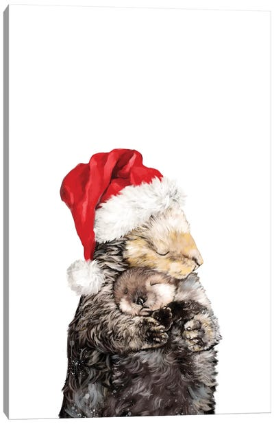 Christmas Otter Mother And Child Canvas Art Print