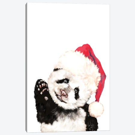 Christmas Panda Canvas Print #BNW135} by Big Nose Work Canvas Wall Art