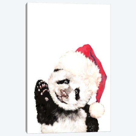 Christmas Panda Canvas Print #BNW135} by Big Nose Work Canvas Wall Art