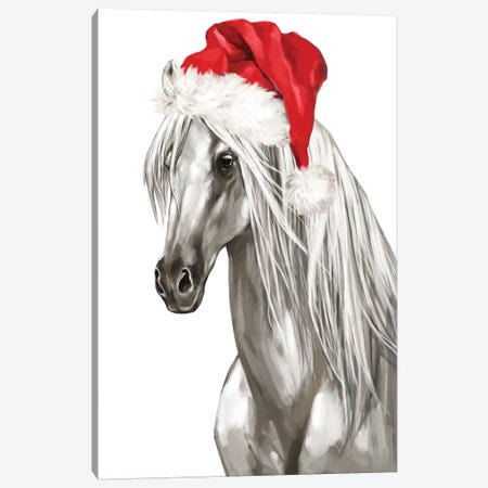 Christmas White Horse Canvas Print #BNW136} by Big Nose Work Canvas Artwork