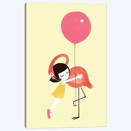 Flamingo Hug Canvas Print #BNW139} by Big Nose Work Canvas Print
