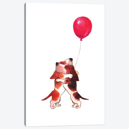 Hugs Puppy Canvas Print #BNW141} by Big Nose Work Canvas Artwork