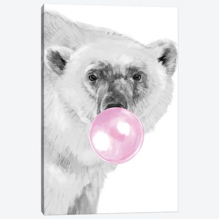 Bubble Gum Polar Bear Canvas Print #BNW142} by Big Nose Work Canvas Wall Art