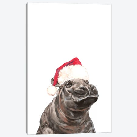 Christmas Baby Hippo Canvas Print #BNW145} by Big Nose Work Canvas Print