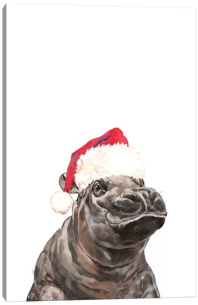 Christmas Baby Hippo Canvas Art Print