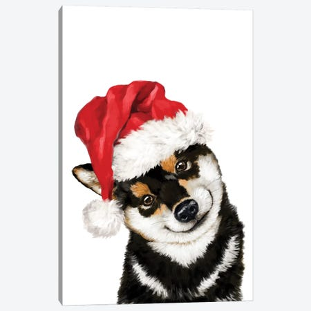 Christmas Black Shiba Inu Canvas Print #BNW149} by Big Nose Work Canvas Wall Art