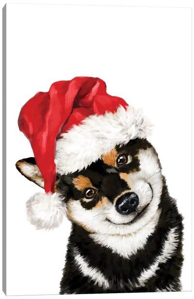 Christmas Black Shiba Inu Canvas Art Print