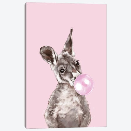 Baby Kangaroo Blowing Bubble Gum Canvas Print #BNW14} by Big Nose Work Art Print