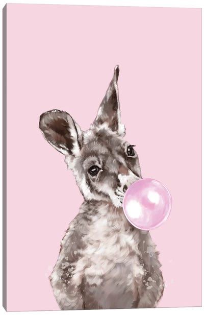 Baby Kangaroo Blowing Bubble Gum Canvas Art Print