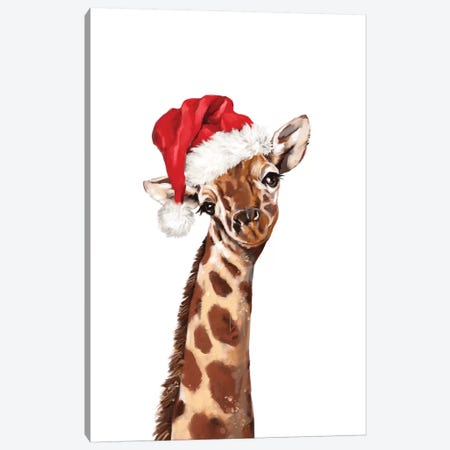 Christmas Giraffe Canvas Print #BNW152} by Big Nose Work Canvas Print