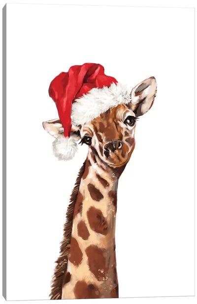 Christmas Giraffe Canvas Art Print