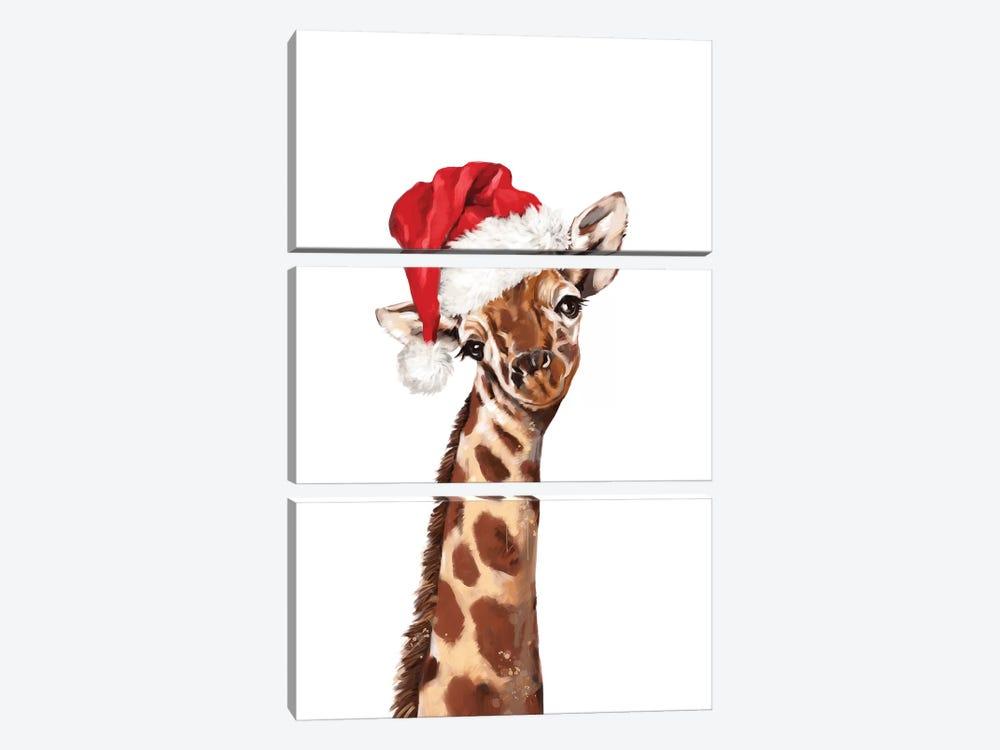 Christmas Giraffe by Big Nose Work 3-piece Canvas Wall Art