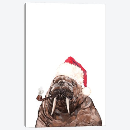 Christmas Daddy Walrus Canvas Print #BNW153} by Big Nose Work Canvas Print