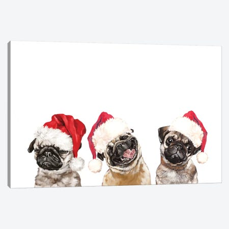 3 Emotional Pug Before Christmas Canvas Print #BNW154} by Big Nose Work Canvas Art