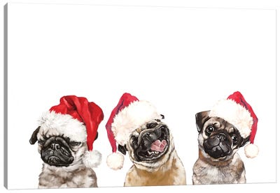 3 Emotional Pug Before Christmas Canvas Art Print