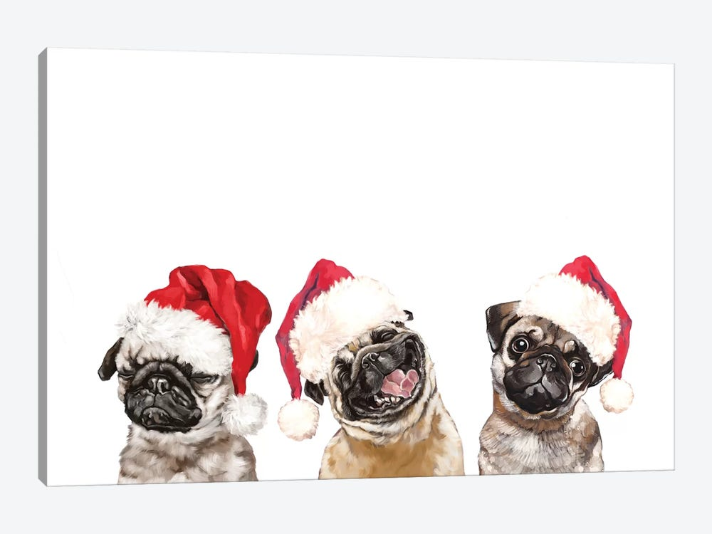3 Emotional Pug Before Christmas by Big Nose Work 1-piece Canvas Art