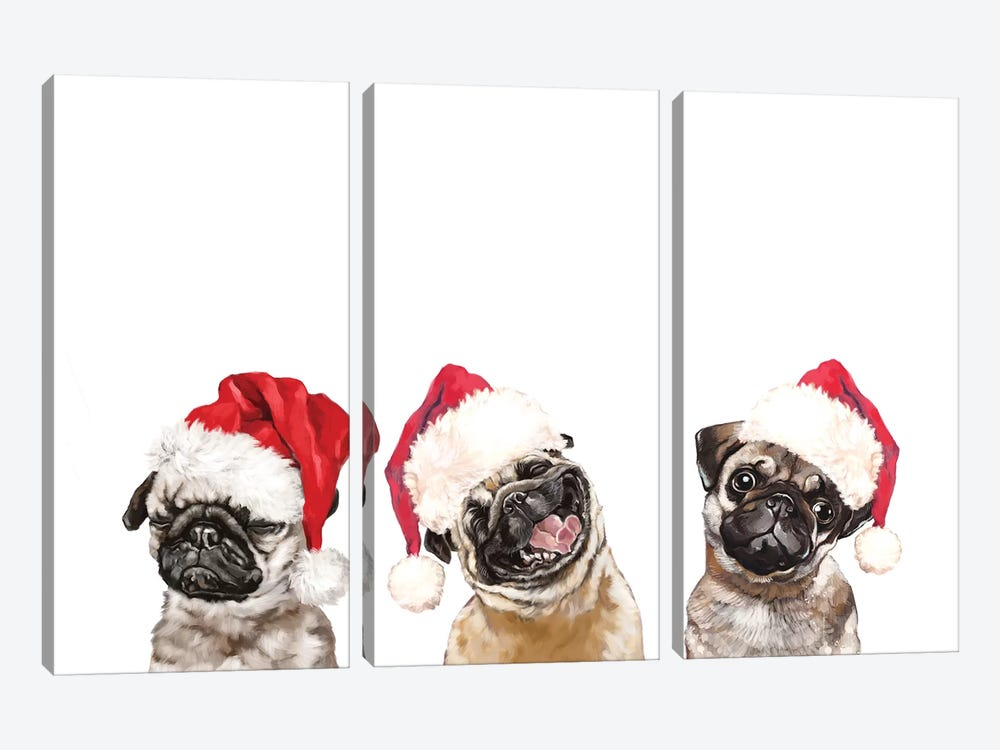 3 Emotional Pug Before Christmas by Big Nose Work 3-piece Canvas Art