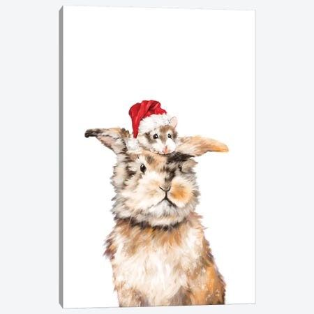 Christmas Hamster And Rabbit Canvas Print #BNW155} by Big Nose Work Canvas Wall Art