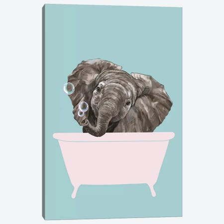 Baby Elephant In Bathtub Canvas Print #BNW156} by Big Nose Work Canvas Art