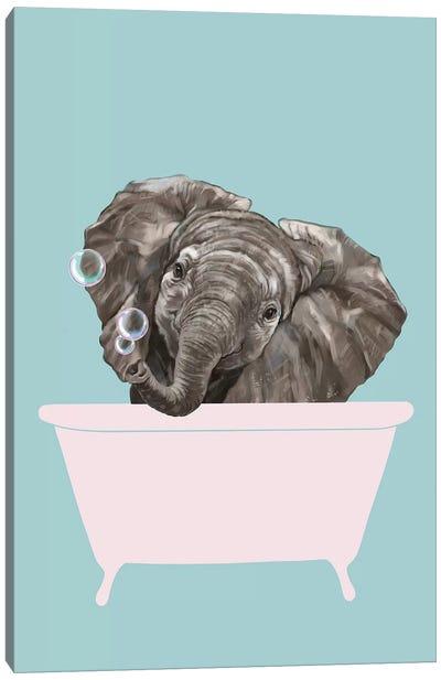 Baby Elephant In Bathtub Canvas Art Print