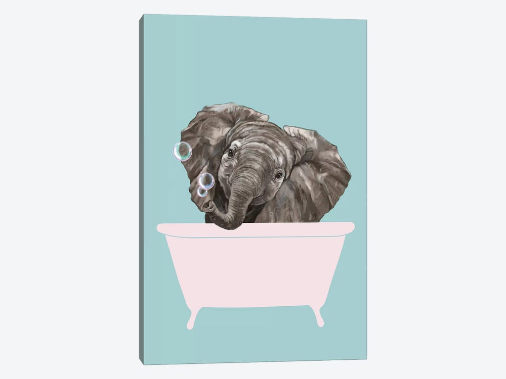Baby Elephant In Bathtub by Big Nose Work 1-piece Canvas Art