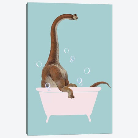 Brachiosaurus In Bathtub Canvas Print #BNW157} by Big Nose Work Canvas Wall Art