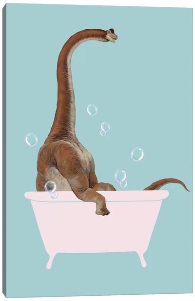 Brachiosaurus In Bathtub Canvas Art Print