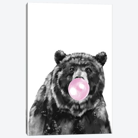Bubble Gum Big Black Bear Canvas Print #BNW159} by Big Nose Work Canvas Print