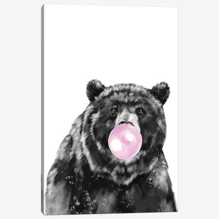 Bubble Gum Big Black Bear 3-Piece Canvas #BNW159} by Big Nose Work Canvas Print
