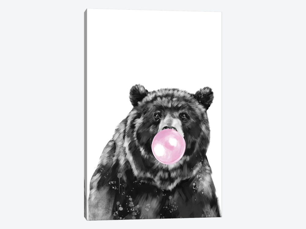 Bubble Gum Big Black Bear by Big Nose Work 1-piece Canvas Print