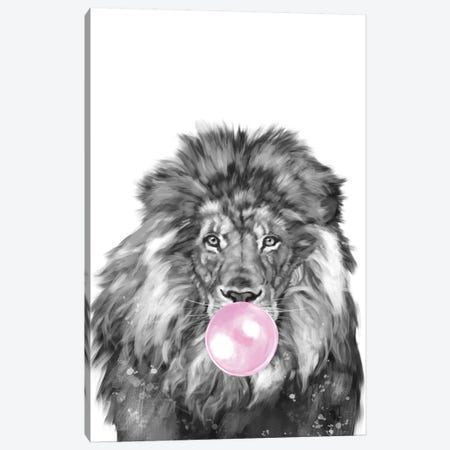 Bubble Gum Lion Canvas Print #BNW160} by Big Nose Work Canvas Wall Art