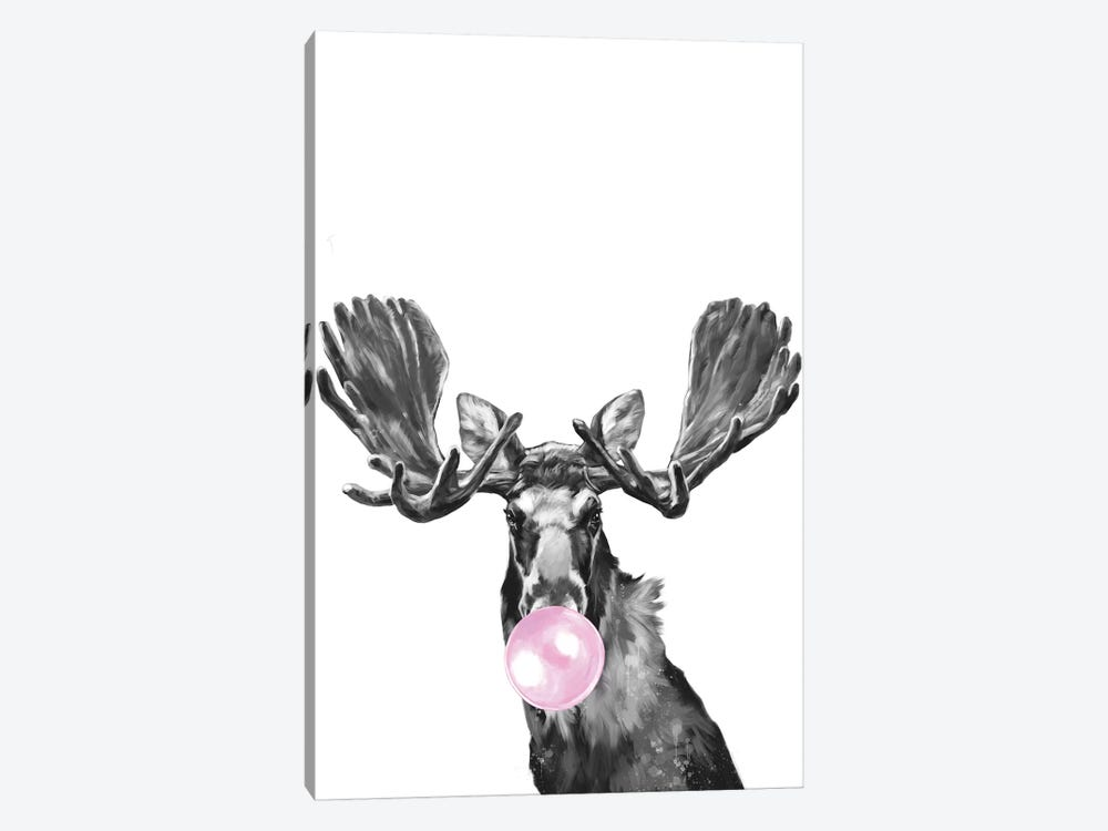 Bubblegum Moose Black And White by Big Nose Work 1-piece Canvas Wall Art