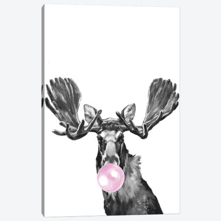Bubblegum Moose Black And White Canvas Print #BNW161} by Big Nose Work Canvas Artwork