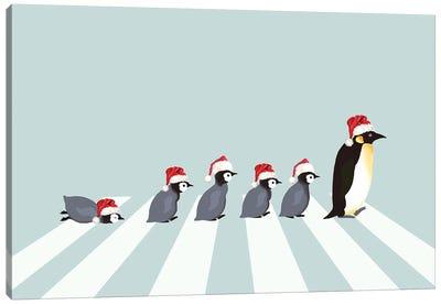 Christmas Santa Penguins The Abbey Road Canvas Art Print