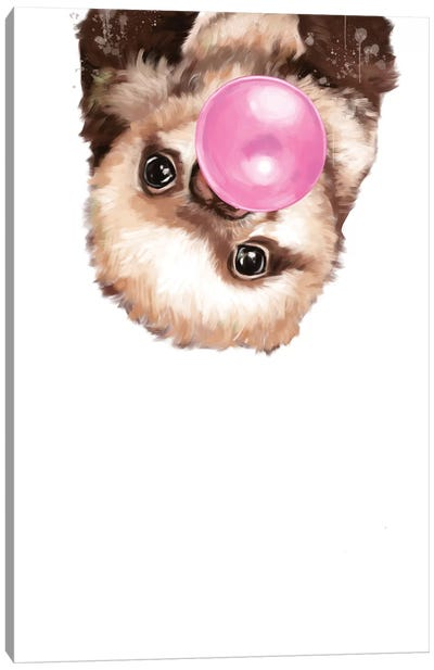 Baby Sloth Blowing Bubble Gum Canvas Art Print