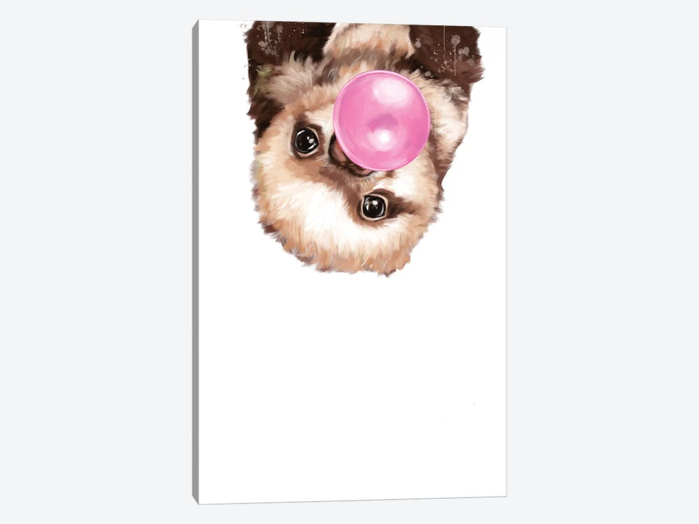 Baby Sloth Blowing Bubble Gum by Big Nose Work 1-piece Canvas Art Print