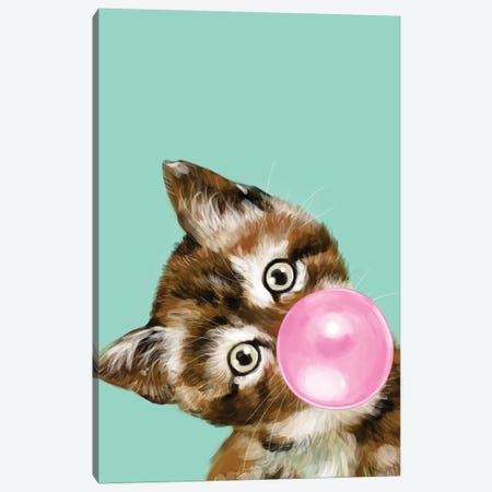 Baby Cat Blowing Bubble Gum In Green Canvas Print #BNW24} by Big Nose Work Canvas Wall Art