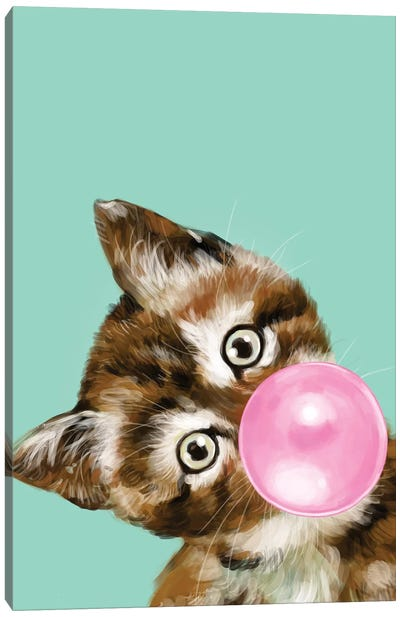 Baby Cat Blowing Bubble Gum In Green Canvas Art Print