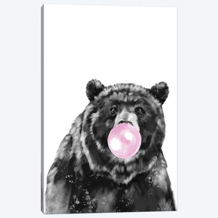 Big Bear Blowing Bubble Gum In Black And White Canvas Print #BNW25} by Big Nose Work Canvas Art