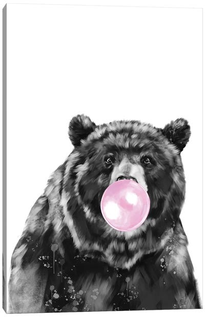 Big Bear Blowing Bubble Gum In Black And White Canvas Art Print